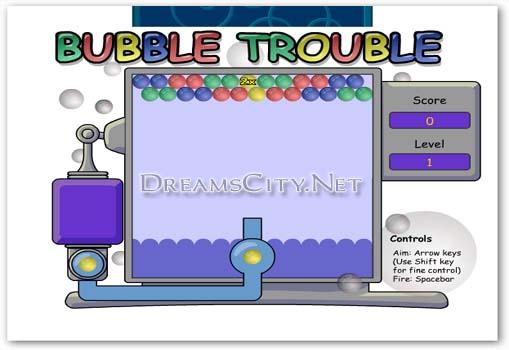 لعبة مشاكل الفقاعات | bubble trouble